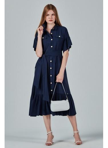 JEANNE D'ARC Jeanne Darc Kolu Ve Eteği Fırfırlı Safari Elbise Je89761 Lacivert